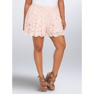 Torrid Plus Size floral lace skirt shorts O0268